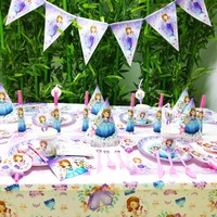 78pcs/set Sofia first Princess Kids Birthday Party Decoration Party Supplies Cup Plate Banner Hat Straw Loot Bag Fork
