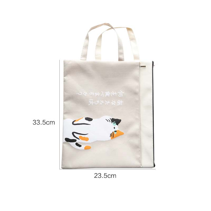 Ezone 1pc A4 Document Bag Cat Folder Bag Kawaii Larger Simple Oxford Cloth High Quality Documents Folder Supplies Stationery 100% High Quality Materials Bag Parts & Accessories