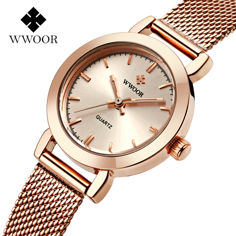WWOOR Rose Gold Women Watches Fashion Casual Quartz-watch Female Steel Bracelet Luxury Dress WristWatch Reloj Muje Montre Femme luxury fashion golden quartz watches square casual lady women party dinner bracelet bangle dress watch montre femme