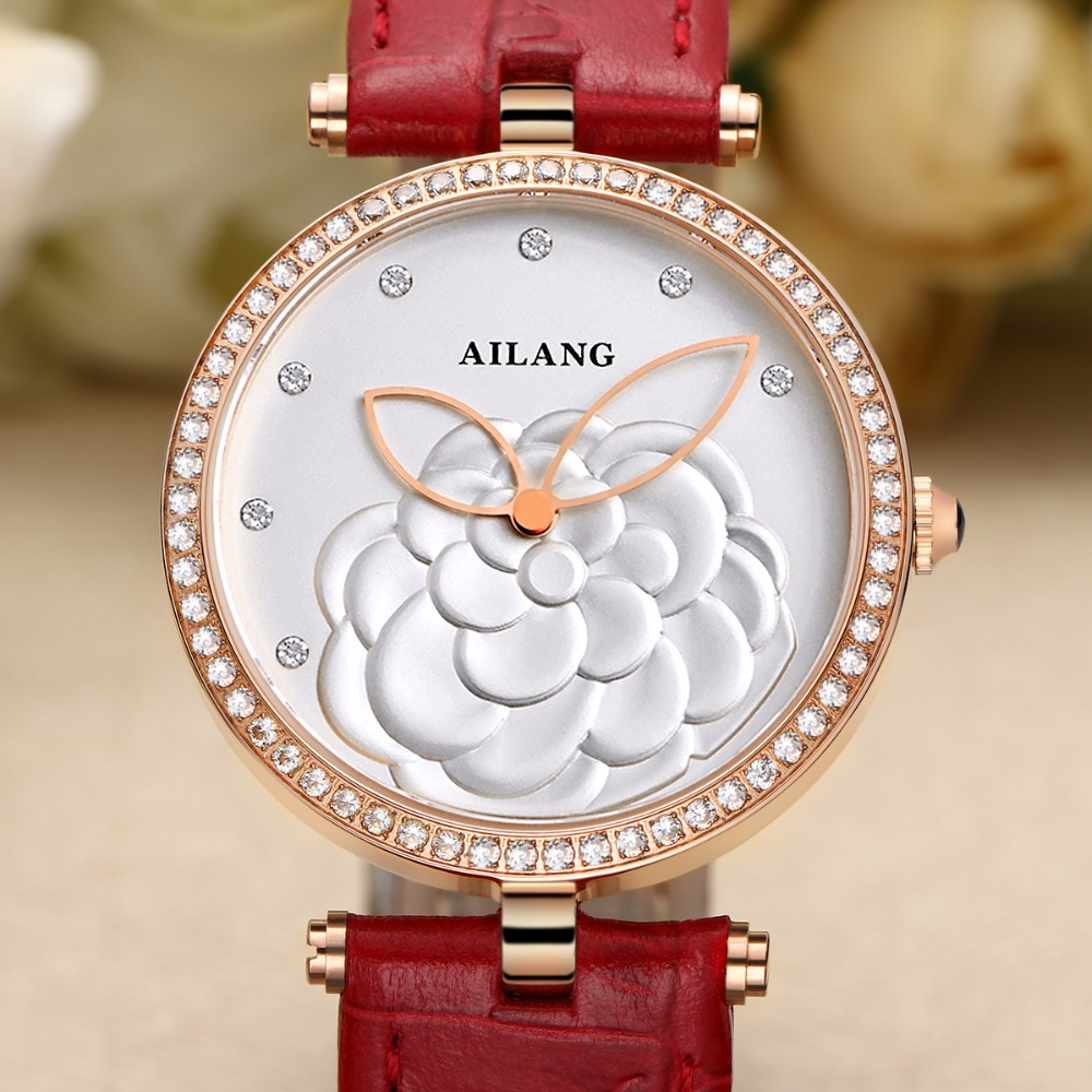 2016 new women's fashion brand watches quartz watch Diamond Ladies leisure clothing simple crystal sports watch red leather belt