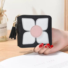 Hot new fashion design print wallet female small cute tassel pendant keychain girls
