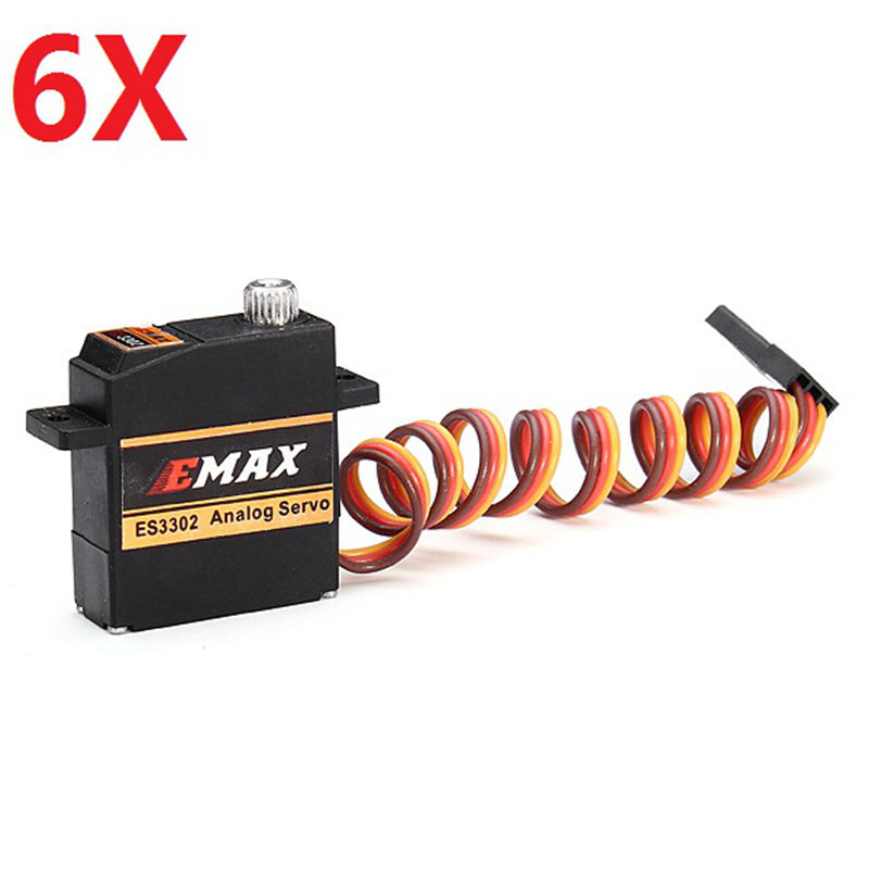 6X EMAX ES3302 12.4g Mini Metal Gear Analog Servo for RC Airplane emax es3005 waterproof metal analog servo w gears and parts black 4 8 6 0v