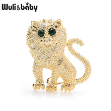 Wuli&baby Gold Silver Color Small Lion Brooches Women Men Alloy Cute Animal Brooch Pins