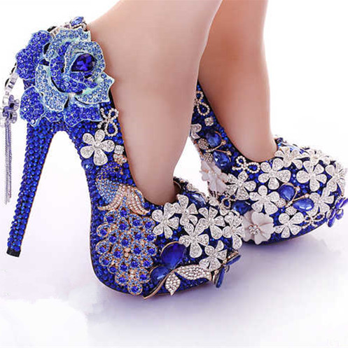 Luxurious big code set auger blue crystal wedding shoes high-heeled diamond waterproof Taiwan fine with bride bridesmaid marriag 2017 fashion flowers diamond pendant bride shoes high with fine with photography single shoes for women s shoes wedding shoes