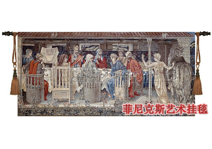 138 * 65 cm Ortaçağ Avrupa Klasik kutsal kase Yuvarlak Masa - Ev Tekstili