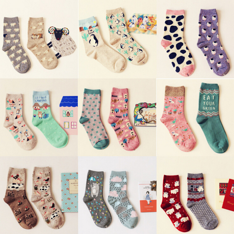 Brand Caramella autumn winter cute cartoon series cotton   socks   for women fashion animal pattern female tide   socks   2pairs/lot