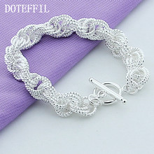 New Fashion Jewelry Brand Design 925 Silver Charm Bracelet Exquisite Bracelets Plated Silver Bangle For Women(China)