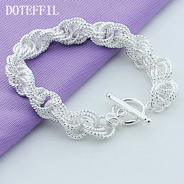 New Fashion Jewelry Brand Design 925 Silver Charm Bracelet Exquisite Bracelets Plated Silver Bangle For Women