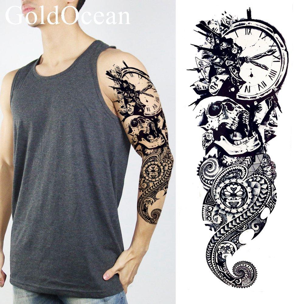 Full Body Henna Tattoo: Long Lasting Black Ghost Temporary Tattoo Clock Henna Men