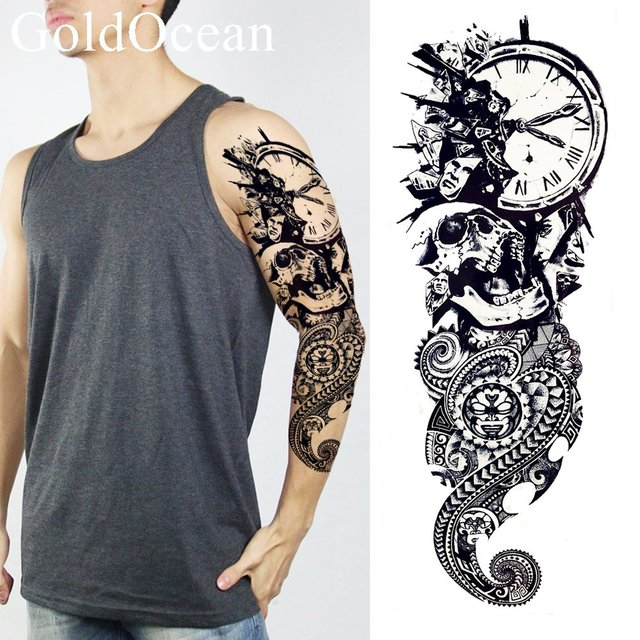Long Lasting Black Ghost Temporary Tattoo Clock Henna Men Full Arm