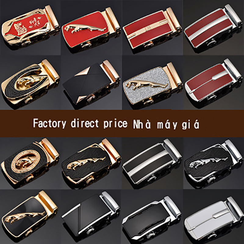 3.5cm Fashion Men's Business Alloy Automatic Buckle Unique Men Plaque Belt Buckles For Ratchet Belt Accessories Red Black White