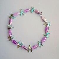 LiiJi Unique Natural Genuine Lavender Amethysts Crystal Leaves Toggle Clasp Necklace 56cm
