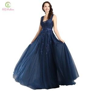 Image 2 - Женское вечернее платье SSYFashion, пикантное Длинное Зеленое кружевное платье с открытой спиной и V образным вырезом, элегантное бальное платье для свадебных торжеств и вечеринок