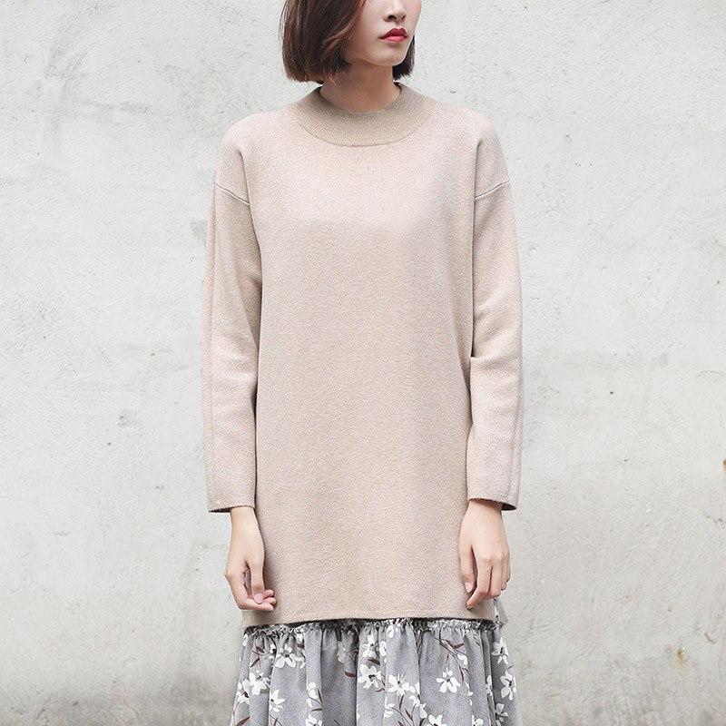 O-cuello Pullovers Suéter Largo Invierno de Las Mujeres Sweatershirt Camisa Infe