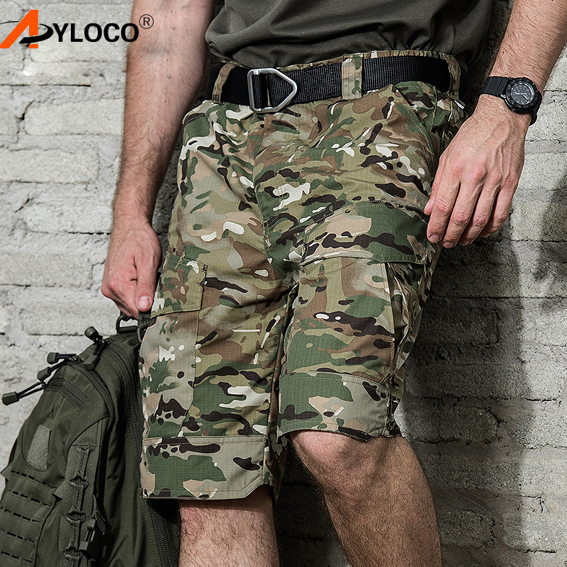 Brand Summer Military Waterproof Tactical Cargo Shorts Men Teflon Camouflage Army Military Short Men casual Shorts