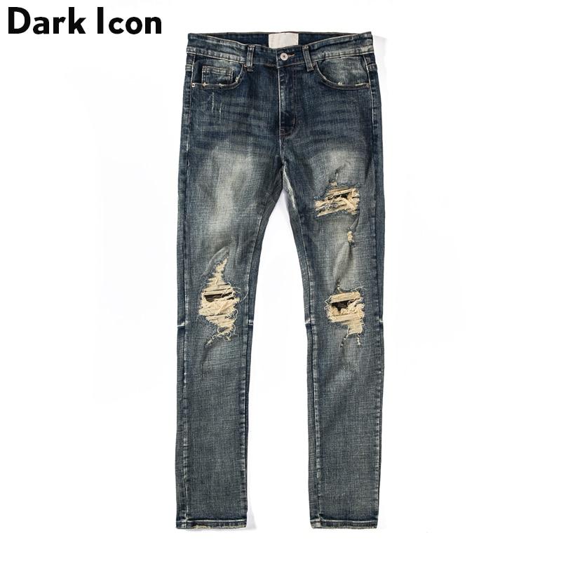 Dark Icon Ripped Jeans Men Camouflage Patch on Knee High Street Men's Jeans Regular Style Destroyed Denim Pants Men