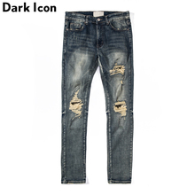 Dark Icon Ripped Jeans Men High Street Men's Jeans Regular Style Destroyed Denim Pants Men men contrast stitching destroyed denim pants