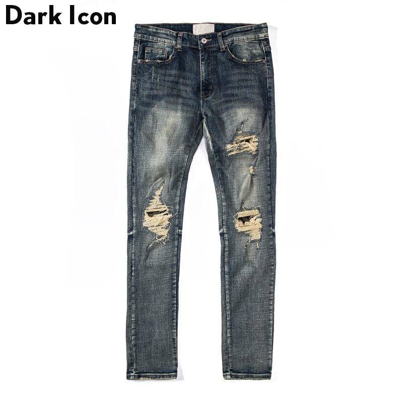 Scuro Icona Strappato Jeans Uomo di Alta degli uomini di Strada Dei Jeans Stile Regolare Distrutto Denim Dei Pantaloni Degli Uomini-in Jeans da Abbigliamento da uomo su  Gruppo 1