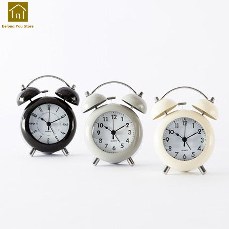 Creative Luminous Bell Alarm Clock Home Decor Vintage Desk Kids Clocks Battery Bedside Despertador Clock Electronic SKJ003