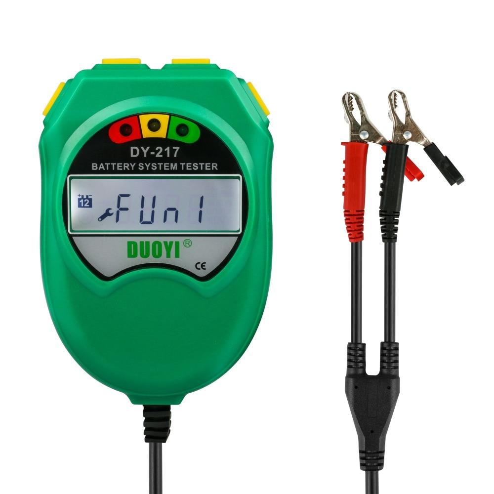 DUOYI DY217 Car Storage Battery Tester 9-18V Lead-acid Battery Healthy Analyzer CCA 100-1700 LCD Display