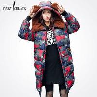 Pinky Is Black New Long Parkas Female Women Winter Coat Camouflage Thicken Winter Jacket Womens Outwear