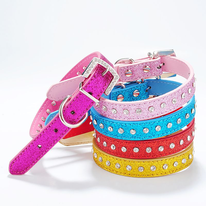 Pets Dog PU Leather Collar Rhinestone Puppy Buckle Charm Pet Collars with Diamond Collar for Small Dog Hot Sale