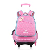 Detachable Nylon School Bags Kids Backpack With Guide Wheel Children Mochila Infantil Escolar Trolley Satchel For