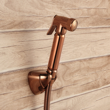 NEW Rose Gold All brass Toilet Handheld Diaper Sprayer Shower Shattaf gold Bidet spray Douche kit Jet Hose Holder