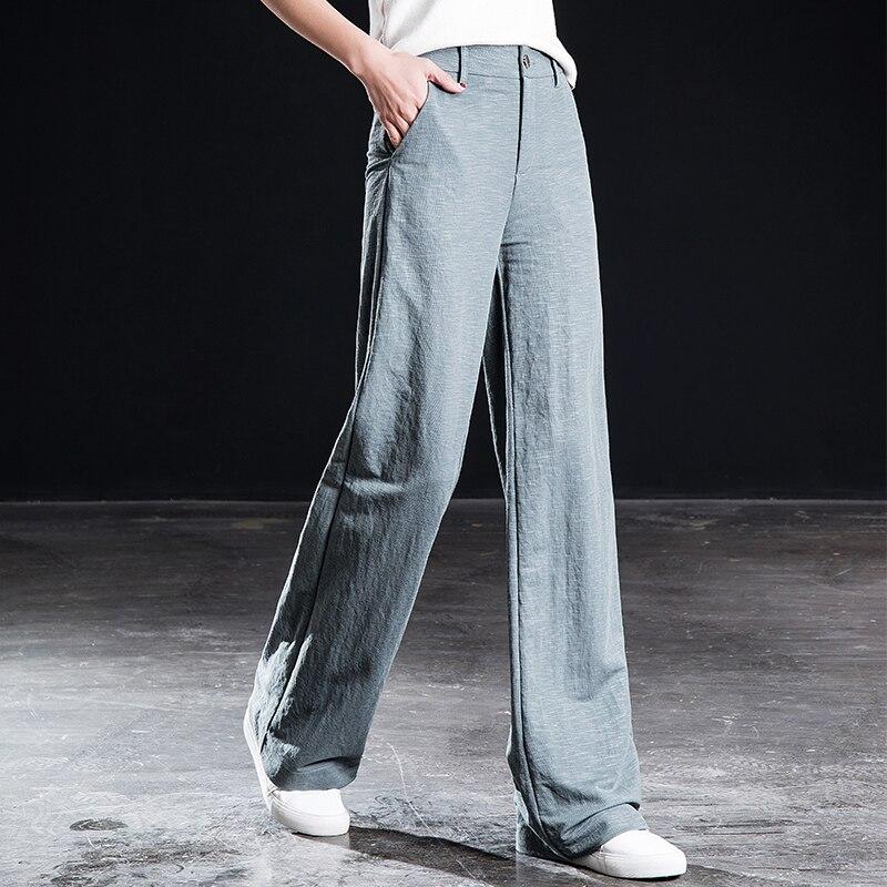 Shangege high waist   wide     leg     pants   ladies loose trousers summer new Korean version straight casual trousers