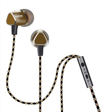 Hot X36M Enthusiast Bass in-ear earphone Copper Forging 7MM Shocking Antinoise in-ear Earphone With Microphone  Gold plated