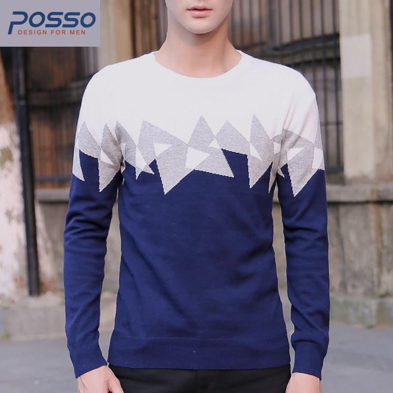 Mens pullover sweater autumn winter geometric sweater blue and white contrast color boys sweaters teenagers cotton sweaters