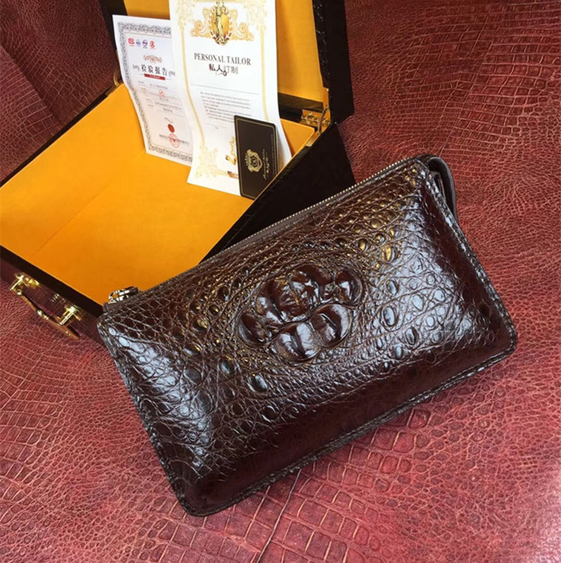 купить Business style Genuine Crocodile Leather Zipper Closure Men Wristlets Exotic Real Alligator Skin Male Clutch Bag Man Card Purse по цене 16213.32 рублей