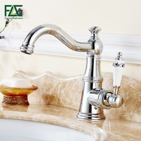 FLG European Aristocratic Basin Faucet Chrome Polished Tap Porcelain Handle Deck Mounted Cold Hot Bathroom Vanity