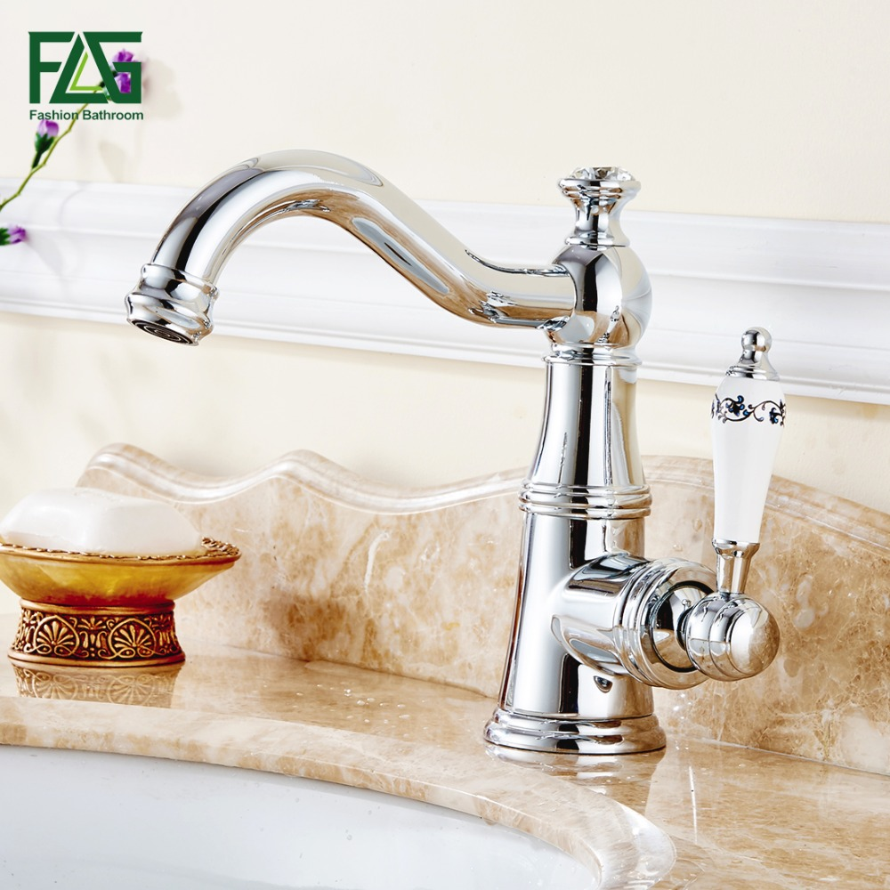FLG European Aristocratic Basin Faucet Chrome Polished Tap Porcelain Handle Deck Mounted Cold and Hot Bathroom Vanity Sink Tap