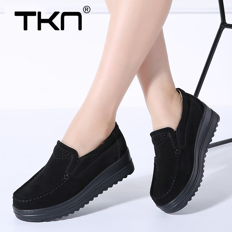 TKN 2019 Spring Women Flats Platform Shoes   Leather     Suede   Slip on Loafers Creepers Ladies Casual Flat Sneakers Woman Shoes 8714