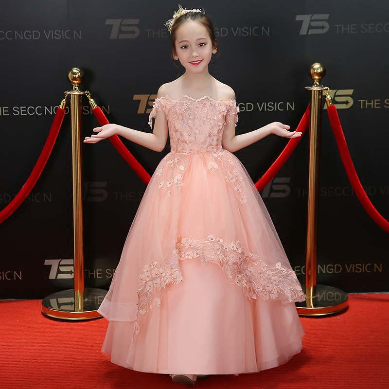 2018 New Summer Elegant Pink Color Children Girls Birthday Wedding Party Prom Dress Kids Babies Host Model Show Costume Dress 2018 new high quality children girls pure white color princess lace wedding birthday dress kids babies elegant model show dress