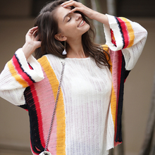 Fashion Womens Sweater Autumn Rainbow Striped Sweaters Pullover Loose Clothing