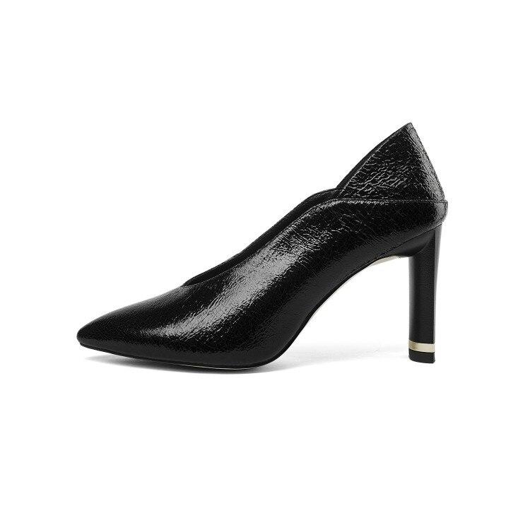 Sur Cuir De Haute Chaussures En Pompes Printemps Talons Couleur Mljuese Robe Black Lady Mariage Parti Vache Pointu Femmes Bout Slip Noir 2018 Automne 6wqwnO0R