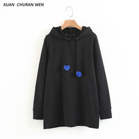 XUANCHURANWEN New Autumn Spring Cotton Sweatshirt Women Long Sleeve Hooded Hoodies Casual Pullover Tops XZ1444