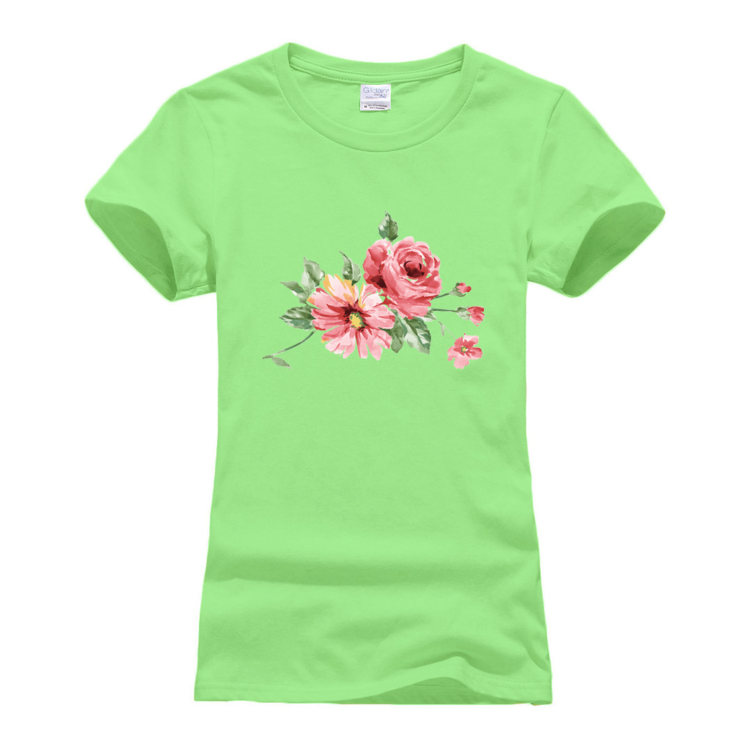 2019 Summer Ink Flowers Printed T Shirt O-Neck short sleeve T-Shirt women Chinese Style Streetwear tee shirts femme hipster tops