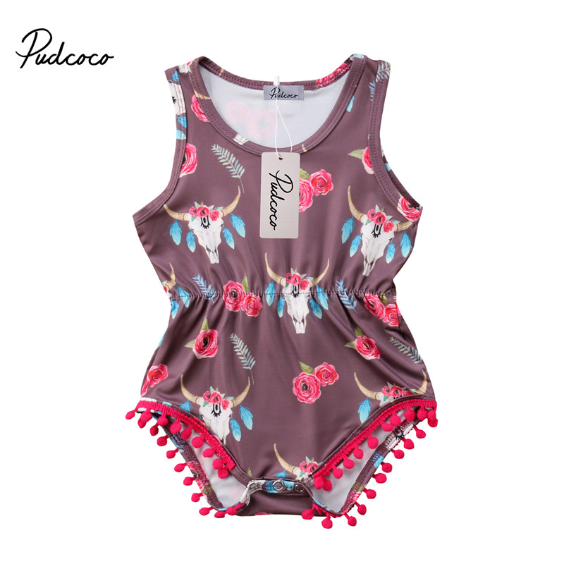 Pudcoco new born romper cotton Sleeveless rompers print Jumpsuit ropa de bebe Baby girl Summer clothes