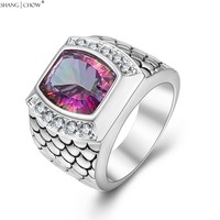 2017 Fashion Charm Jewelry With Huge Mystic Stone 925 Sterling Silver Ring For Man Cocktail Prom