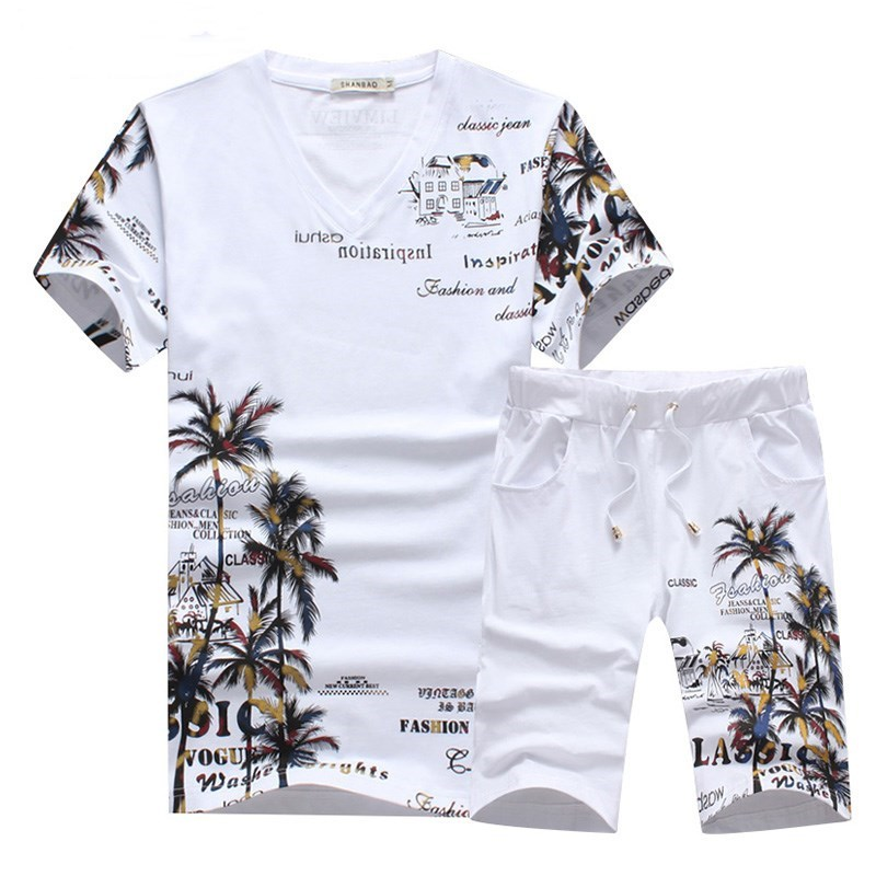 2019 New Fashion Men's Summer Set Personality Beach Wind Letter Printing Set Men's Large Size Casual Sports Set T-shirt + Shorts
