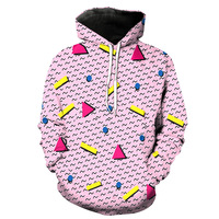 Newest 3D Print Food Graphic Pink Pocket Hoodies Fashion Men And Women Long Sleeve Pullover Sweatshirts