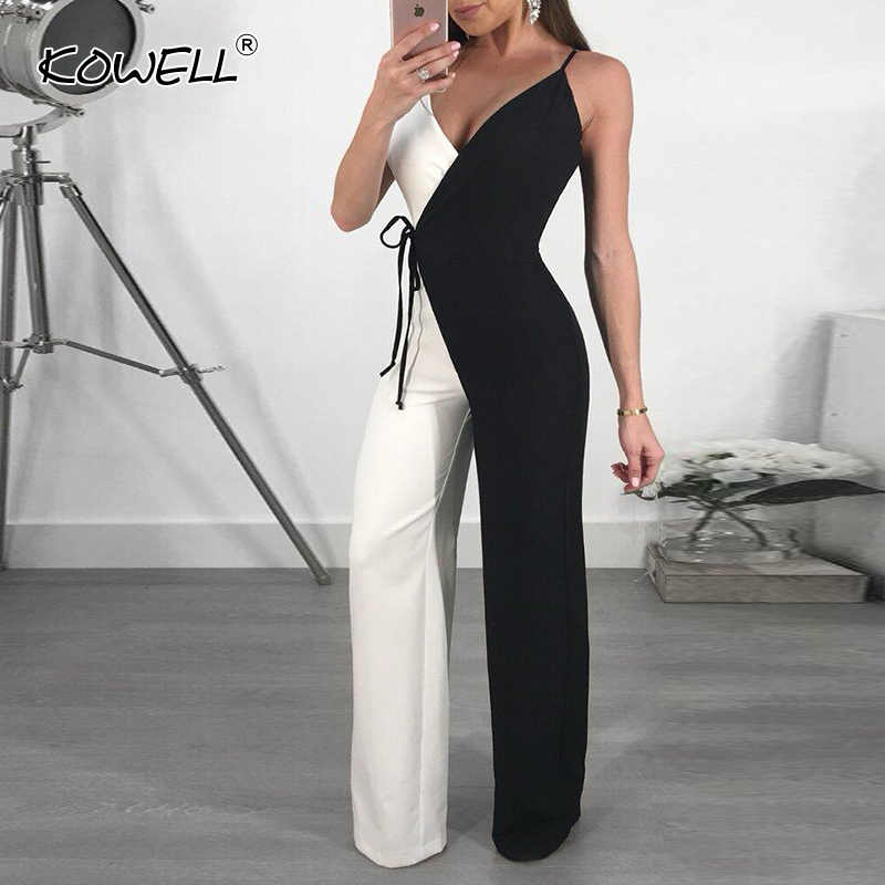 cfa4d528f5 Hot Sale deep v neck sexy jumpsuit Women bodycon wide leg playsuit overalls  summer streetwear female