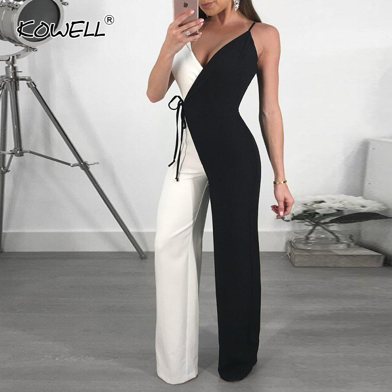 Hot Sale deep v neck sexy   jumpsuit   Women bodycon wide leg playsuit overalls summer streetwear female sleeveless   jumpsuit   romper