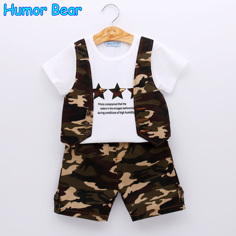 Humor Bear Summer Boys Suitr Boys Clothing Sets Kids Clothing Sets Camouflage T-Shirt + Pant 2Pcs Suits Boys Clothes