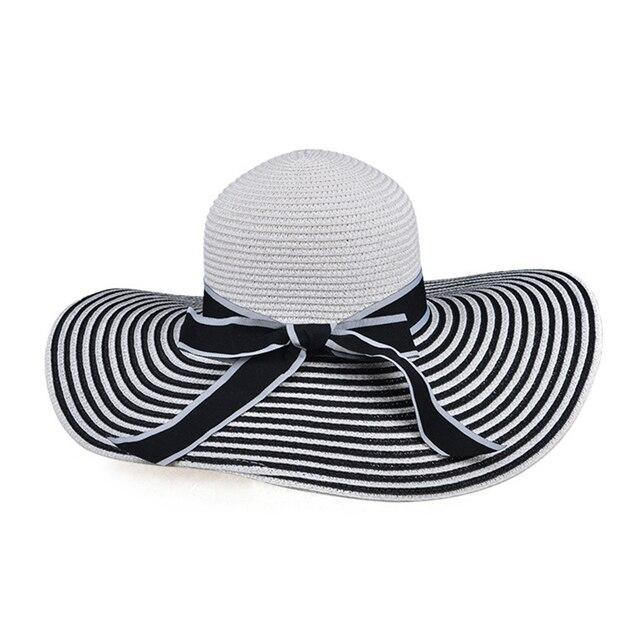 Ladies Superb Summer Sun Beach Floppy Derby Hat Women Black And White  Stripes Wide Large Brim Straw Hats Solid Casual UV Cap e38f6490e42
