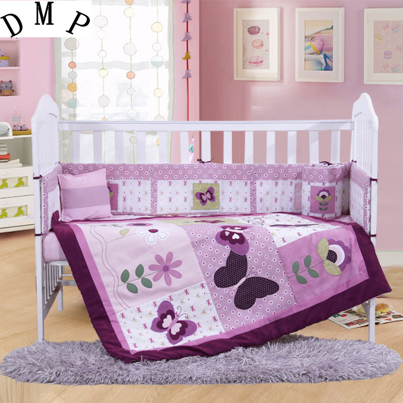 4PCS Embroidery purple <font><b>Crib</b></font> Bed Linen Baby <font><b>Bedding</b></font> Set baby cot set ,include(bumper+duvet+sheet+pillow)