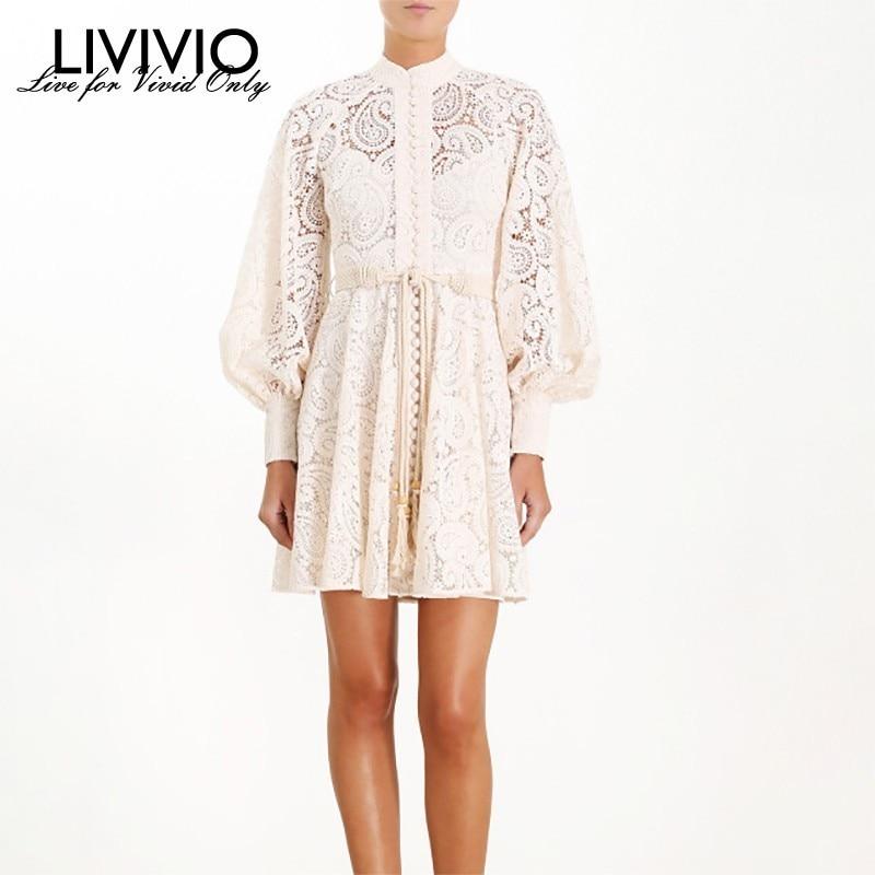 LIVIVIO Hollow Out Cashew Lace Dresses Women Stand Collar Lantern Long Sleeve Belt Waisted Mini